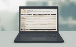Online tax filing. Front view of a computer laptop with a tax form on screen, concept of online tax filing 3d render royalty free illustration