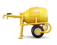 Front view concrete mixer isolated on white background. 3d rende Royalty Free Stock Photography