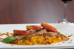Front view of couscous dish with meat Royalty Free Stock Photo