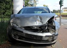 Crashed Car. Front view of a crashed car Royalty Free Stock Photo