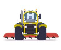 Front view of cultivator tractor. Front view of tractor for farming with cultivator. Flat style vector illustration. Agriculture vehicle with farm implement for vector illustration
