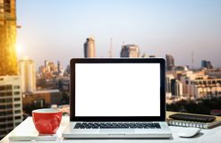 Front view workspace with computer, royalty free stock photo