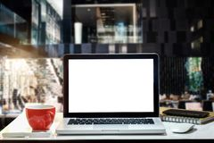 Front view workspace with computer, royalty free stock image