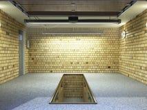 Front View d'intérieur ampty du garage 3D avec la porte ouverte 3 de rouleau Photos libres de droits