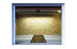 Front View d'un intérieur ampty du garage 3D avec la porte ouverte de rouleau Photos stock