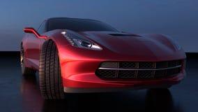 Front View d'une belle voiture de sport avec la conception américaine illustration de vecteur
