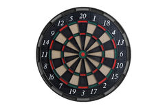 Front view of a dart board. Front view of an dart board on white background Stock Photos