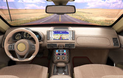 Front view dashboard of modern brand new car with road in the wi. Ndows 3d illustration Stock Photo