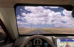 Front view dashboard of modern brand new car with road in the wi. Ndows 3d illustration Stock Images