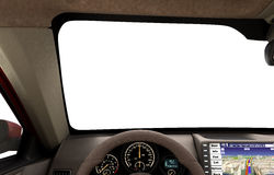 Front view dashboard of modern brand new car with road in the wi Royalty Free Stock Photos