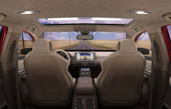 Front view dashboard of modern brand new car with road in the wi. Ndows 3d render image Stock Photo