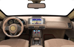 Front view dashboard of modern brand new car with windows 3d ill Stock Photo