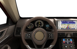 Front view dashboard of modern brand new car with windows 3d ill. Ustration Royalty Free Stock Photography