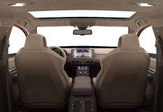 Front view dashboard of modern brand new car with windows 3d ren. Der image Stock Images