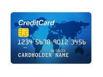 Front View de la tarjeta de crédito azul aislada Imágenes de archivo libres de regalías