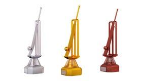Front View de los trofeos del plata del oro del palo de grillo y de bronce en la rotación infinita ilustración del vector