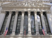 Front View de New York Stock Exchange, New York Imagens de Stock