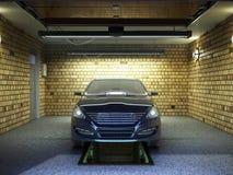 Front View de un garaje con un interior del coche 3D con el rodillo abierto Fotos de archivo libres de regalías