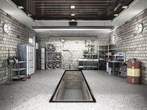 Front View de un interior del garaje 3D con la puerta abierta 3D del rodillo con referencia a Libre Illustration