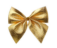 Front view of decorative golden bow Royalty Free Stock Photos