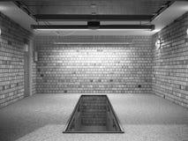 Front View del interior ampty del garaje 3D con la puerta abierta 3 del rodillo Imagen de archivo libre de regalías