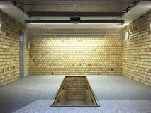 Front View del interior ampty del garaje 3D con la puerta abierta 3 del rodillo Ilustración del Vector