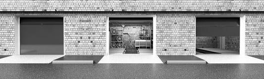 Front View del interior ampty del garaje 3D con la puerta abierta 3 del rodillo Fotografía de archivo libre de regalías