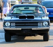 Front View dell'automobile di modello di Dodge Demon Antique degli anni 70 neri fotografia stock libera da diritti