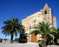 Front View della chiesa di Aljucén, Spagna Fotografia Stock