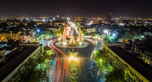 Front view of democracy monument, Bangkok, Thailand. Stock Photo