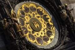 Front View Detail of Prague Astronomical Clock Stock Photos