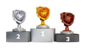 Front View di un podio con i trofei di baseball illustrazione vettoriale