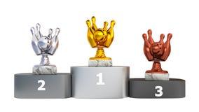 Front View di un podio con i trofei di bowling royalty illustrazione gratis