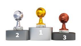 Front View di un podio con i trofei di pallacanestro royalty illustrazione gratis