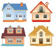 Front view of 4 different cottages Royalty Free Stock Image