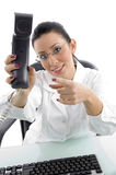 Front view of doctor pointing receiver Stock Photography