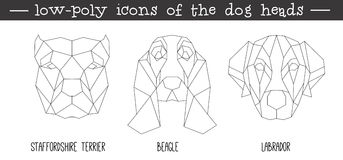 Front view of dog head triangular icon set Royalty Free Stock Photography