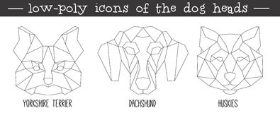 Front view of dog head triangular icon set vector illustration