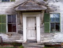 Front view of door and windows. Royalty Free Stock Images