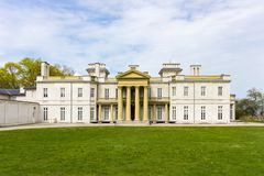 Front view of Dundurn Castle in Hamilton, ON, Canada stock photos
