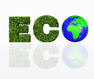 Front view of eco word with the world Stock Image