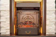 Front view of electric fireplace royalty free stock photography