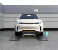 Front view of electric SUV car exchange low battery in battery swapping station. Fast battery exchange solution.  3D rendering image Stock Photography