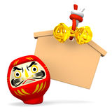 Front View Of Empty Votive Picture And Daruma Doll Royalty Free Stock Images