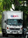 Front View Of en GDExpress lastbil arkivbilder