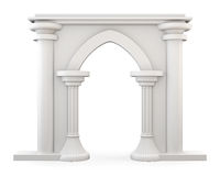 Front view of a Entrance with columns  on white backgrou Royalty Free Stock Images