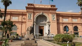 Front view of the exterior of the egyptian museum in cairo