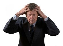 Front view of senior caucasian man worried and afraid stock photography