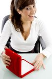 Front view of female accountant with jewellery box Royalty Free Stock Image