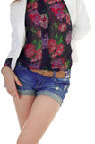 Front view of female body in  blue jeans shorts, blouse, jacket. Royalty Free Stock Images